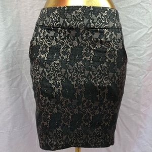 black lace over nude pencil skirt